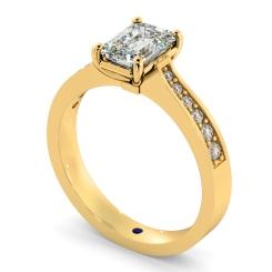 HRXSD670 Emerald cut Diamond Ring with Grain Set Accent Stones - yellow