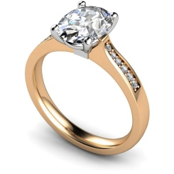 HRXSD671 Oval Shoulder Diamond Ring - rose