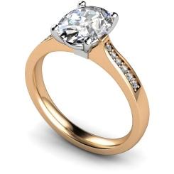 HRXSD671 Oval Shoulder Diamond Ring - rose