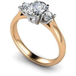 HRXTR116 Oval & Round 3 Stone Diamond Ring - rose