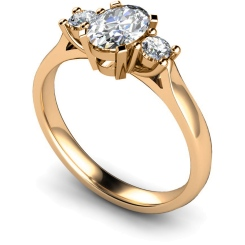 HRXTR116 Oval & Round 3 Stone Diamond Ring - rose