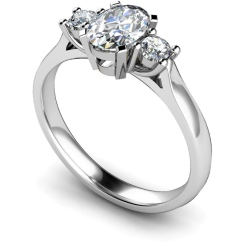 HRXTR116 Oval & Round 3 Stone Diamond Ring - white