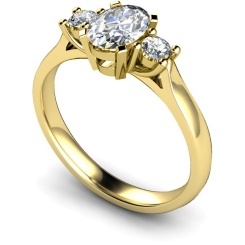 HRXTR116 Oval & Round 3 Stone Diamond Ring - yellow