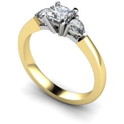 HRXTR117 Princess & Pear 3 Stone Diamond Ring - yellow