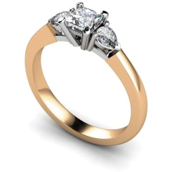 HRXTR117 Princess & Pear 3 Stone Diamond Ring - rose
