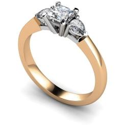 HRXTR117 Princess & Pear 3 Stone Diamond Ring - rose