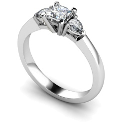HRXTR117 Princess & Pear 3 Stone Diamond Ring - white