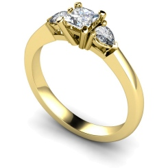 HRXTR117 Princess & Pear 3 Stone Diamond Ring - yellow