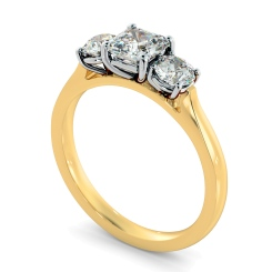 HRXTR1180 Asscher & Round 3 Stone Diamond Ring - yellow