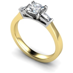 HRXTR123 Princess & Baguettes 3 Stone Diamond Ring - yellow