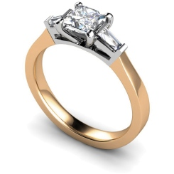 HRXTR123 Princess & Baguettes 3 Stone Diamond Ring - rose