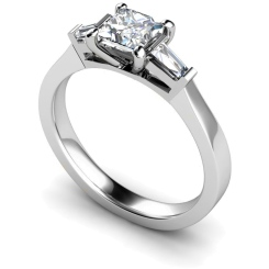 HRXTR123 Princess & Baguettes 3 Stone Diamond Ring - white