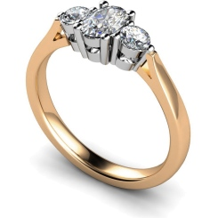 HRXTR124 Oval & Round 3 Stone Diamond Ring - rose