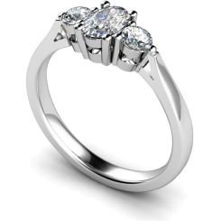 HRXTR124 Oval & Round 3 Stone Diamond Ring - white