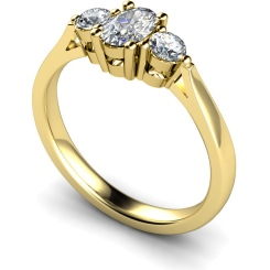 HRXTR124 Oval & Round 3 Stone Diamond Ring - yellow