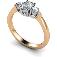 HRXTR125 Oval & Round 3 Stone Diamond Ring - rose