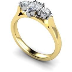 HRXTR129 Pear & Round 3 Stone Diamond Ring - yellow