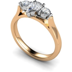 HRXTR129 Pear & Round 3 Stone Diamond Ring - rose