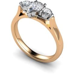 HRXTR129 Pear & Round 3 Stone Diamond Ring - rose
