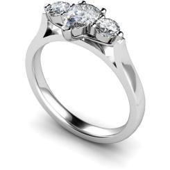 HRXTR129 Pear & Round 3 Stone Diamond Ring - white