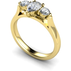 HRXTR129 Pear & Round 3 Stone Diamond Ring - yellow