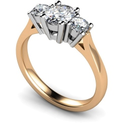 HRXTR130 Oval & Round 3 Stone Diamond Ring - rose