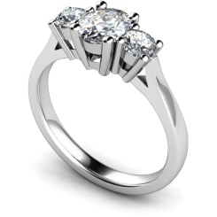 HRXTR130 Oval & Round 3 Stone Diamond Ring - white