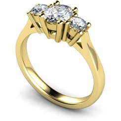 HRXTR130 Oval & Round 3 Stone Diamond Ring - yellow
