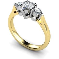 HRXTR132 Pear & Round 3 Stone Diamond Ring - yellow