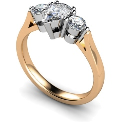 HRXTR132 Pear & Round 3 Stone Diamond Ring - rose