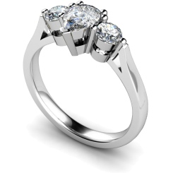 HRXTR132 Pear & Round 3 Stone Diamond Ring - white
