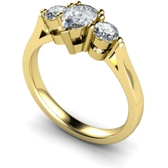 HRXTR132 Pear & Round 3 Stone Diamond Ring - yellow