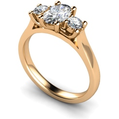 HRXTR137 Oval & Round 3 Stone Diamond Ring - rose
