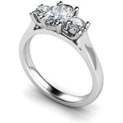 HRXTR137 Oval & Round 3 Stone Diamond Ring - white