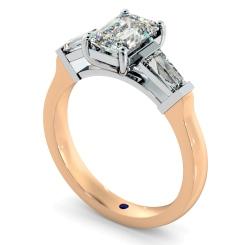 HRXTR138 Emerald & Baguettes 3 Stone Diamond Ring - rose