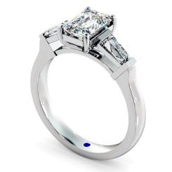 HRXTR138 Emerald & Baguettes 3 Stone Diamond Ring - white