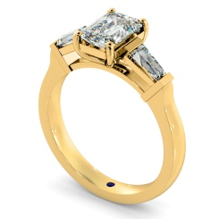 HRXTR138 Emerald & Baguettes 3 Stone Diamond Ring - yellow
