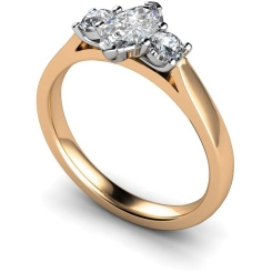HRXTR142 Marquise & Round 3 Stone Diamond Ring - rose
