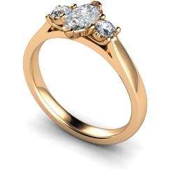 HRXTR142 Marquise & Round 3 Stone Diamond Ring - rose