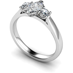 HRXTR142 Marquise & Round 3 Stone Diamond Ring - white