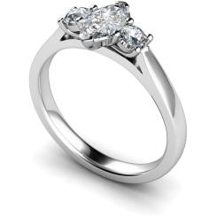 HRXTR142 Marquise & Round 3 Stone Diamond Ring - white