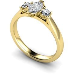 HRXTR142 Marquise & Round 3 Stone Diamond Ring - yellow