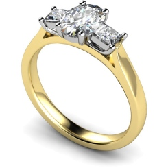HRXTR143 Oval & Princess 3 Stone Diamond Ring - yellow