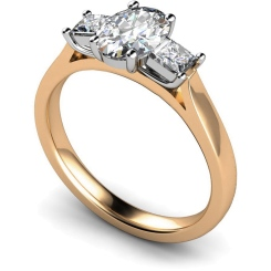 HRXTR143 Oval & Princess 3 Stone Diamond Ring - rose