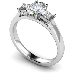 HRXTR143 Oval & Princess 3 Stone Diamond Ring - white