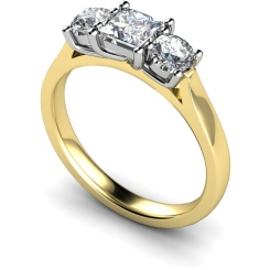 HRXTR144 Princess & Round 3 Stone Diamond Ring - yellow