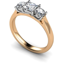 HRXTR144 Princess & Round 3 Stone Diamond Ring - rose
