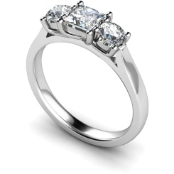 HRXTR144 Princess & Round 3 Stone Diamond Ring - white