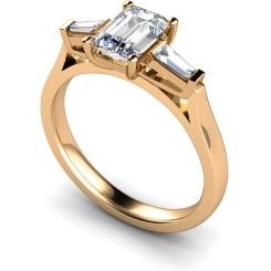 HRXTR145 Emerald & Baguettes 3 Stone Diamond Ring - rose