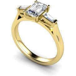 HRXTR145 Emerald & Baguettes 3 Stone Diamond Ring - yellow
